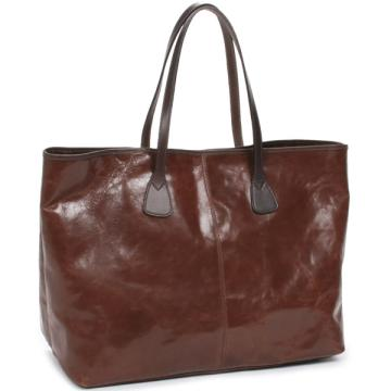 Tusting Alice Leather Tote Bag - Large: Dark Brown