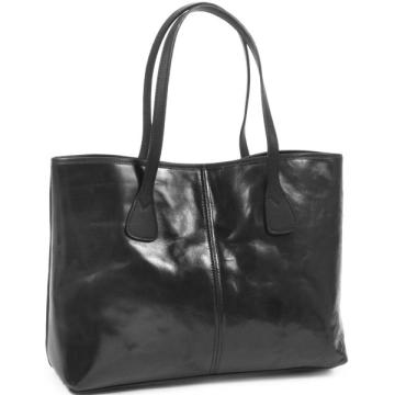 Tusting Alice Leather Tote Bag - Small: Black